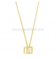 50 CM CHAIN WITH GEOMETRIC PENDANT WITH PEARL IN GOLDEN AND SATIN SILVER TIT 925