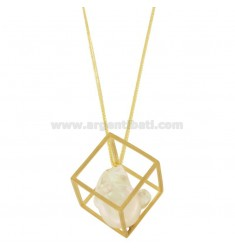 80 CM CHAIN WITH GEOMETRIC PENDANT WITH PEARL IN GOLDEN AND SATIN SILVER TIT 925