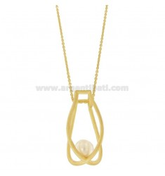 60 CM CHAIN WITH GEOMETRIC PENDANTS WITH PEARLS IN GOLDEN AND SATIN SILVER TIT 925