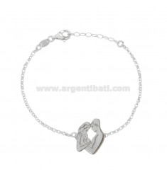 ROLO BRACELET 'WITH MOTHER, DADDY AND CENTRAL KIDS IN SILVER RHODIUM TIT 925 CM 18-20