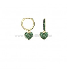 EARRINGS IN A CIRCLE WITH A PENDANT HEART IN SILVER SILVER TIT 925 AND GREEN ZIRCONIA
