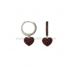 CIRCLE EARRINGS WITH PENDANT HEART IN SILVER RHODIUM TIT 925 AND RED ZIRCONIA