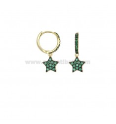 EARRINGS IN CIRCLE WITH STAR PENDANT IN GOLDEN SILVER TIT 925 AND GREEN ZIRCONIA