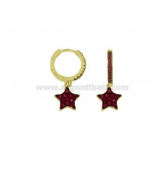 CIRCLE EARRINGS WITH STAR PENDANT IN GOLDEN SILVER TIT 925 AND RED ZIRCONIA