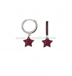 EARRINGS IN A CIRCLE WITH A PENDANT STAR SILVER RHODIUM TIT 925 AND RED ZIRCONIA