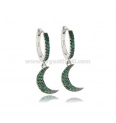 EARRINGS IN A CIRCLE WITH MOON PENDANT IN SILVER RHODIUM TIT 925 AND GREEN ZIRCONIA