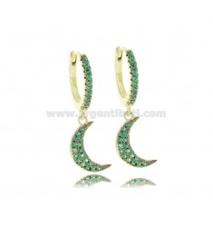 EARRING CIRCLE WITH MOON PENDANT IN GOLDEN SILVER TIT 925 AND GREEN ZIRCONIA
