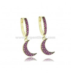 CIRCLE EARRINGS WITH MOON PENDANT IN SILVER SILVER TIT 925 AND RED ZIRCONIA