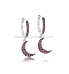 CIRCLE EARRINGS WITH MOON PENDANT IN RHODIUM SILVER TIT 925 AND RED ZIRCONIA