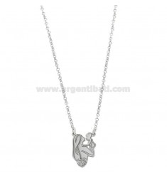 ROLO NECKLACE 'WITH MOTHER AND CENTRAL CHILD IN SILVER RHODIUM TIT 925 AND GLITTER CM 40-45
