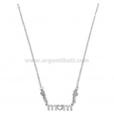 ROLO NECKLACE 'WITH CENTRAL MOM IN RHODIUM SILVER TIT 925 AND GLITTER CM 40-45