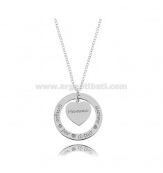 NECKLACE CABLE WITH THANK YOU FOR YOUR LOVE IN SILVER RHODIUM TIT 925 CM 40-45
