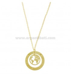 NECKLACE CABLE WITH WORLD THE BEST MOTHER OF THE WORLD IN SILVER SILVER TIT 925 CM 40-45