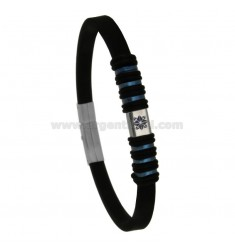 RUBBER BRACELET WITH WIND ROSE AND STEEL CM 21