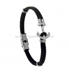STEEL BRACELET WITH STILL AND LEATHER CM 21
