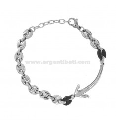 MARINE KNITTED BRACELET IN TWO-COLORED STEEL WITH CENTRAL STILL
