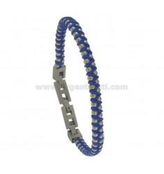BRACELET IN STEEL AND BLUE ROPE CM 21