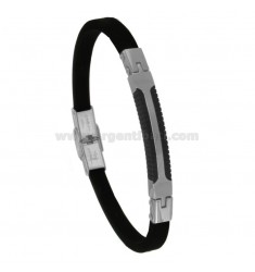 BICOLOUR STEEL BRACELET WITH PLATE E CAUCCIU 'CM 21