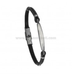 BRACELET IN STEEL WITH PLATE AND LEATHER CM 21