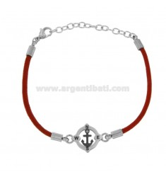BRACELET IN RED ROPE WITH STILL IN STEEL CM 21