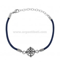 ROPE BRACELET BLUE WITH STEEL RUDDER CM 21