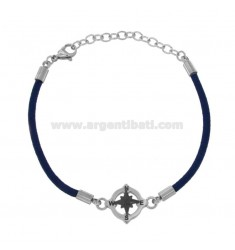 BRACELET IN ROPE BLUE WITH ROSE OF THE WINDS IN STEEL CM 21