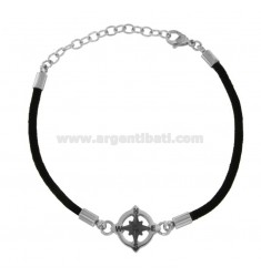 BRACELET IN BLACK ROPE WITH ROSE OF THE WINDS IN STEEL CM 21