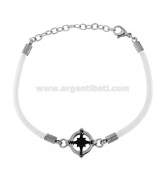 BRACELET IN WHITE ROPE WITH ROSE OF THE WINDS IN STEEL CM 21