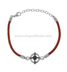 BRACELET IN RED ROPE WITH ROSE OF THE WINDS IN STEEL CM 21