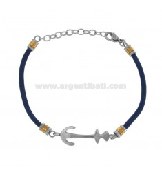 WHITE ROPE BRACELET WITH STILL IN TWO-COLORED STEEL CM 21