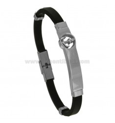 RUBBER BRACELET WITH STILL AND STEEL CM 21
