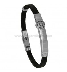 RUBBER BRACELET WITH RUDDER AND STEEL CM 21