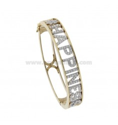 CUSTOM RIGID BRACELET WITH ZIRCONATED LETTERS IN SILVER RHODIUM AND GOLDEN TIT 925 AND ZIRCONIA
