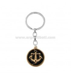 KEYCHAIN IN BICOLOUR STEEL WITH STILL AND ENAMEL