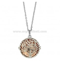 NECKLACE 90 CM WITH CALLS ANGELS WITH TREE OF LIFE IN TWO-COLORED STEEL