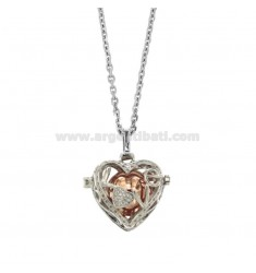 NECKLACE 90 CM WITH CALL ANGELS BICOLOR HEART STEEL AND ZIRCONIA