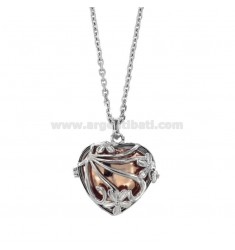 NECKLACE 90 CM WITH CALL ANGELS BICOLOR STEEL HEART