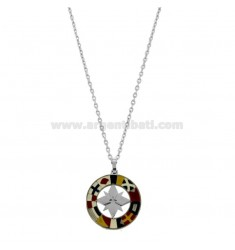 PENDANT ROSE OF THE WINDS 20 MM IN STEEL AND ENAMEL WITH CHAIN CABLE 50 CM