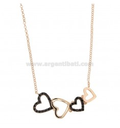 ROLO NECKLACE WITH HEARTS CENTRAL DEGRADE SILVER ROSE TIT 925 AND BLACK ZIRCONIA CM 45