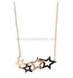 ROLO NECKLACE 'WITH STARS CENTRAL DEGRADE IN SILVER ROSE TIT 925 AND ZIRCONIA BLACKS 45 CM