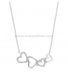 ROLO NECKLACE 'WITH HEARTS CENTRAL DEGRADE IN SILVER RHODIUM TIT 925 AND WHITE ZIRCONIA CM 45