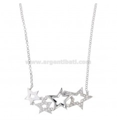 ROLO NECKLACE 'WITH STARS CENTRAL DEGRADE IN SILVER RHODIUM TIT 925 AND WHITE ZIRCONIA CM 45