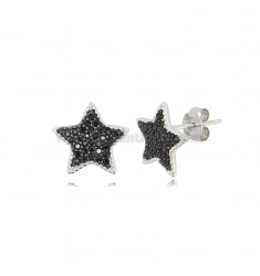 LOBO STAR EARRINGS IN SILVER RHODIUM TIT 925 AND BLACK ZIRCONIA