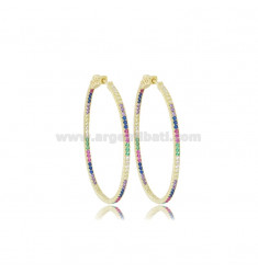40X30 MM OVAL EARRINGS IN SILVER SILVER TIT 925 AND RAINBOW ZIRCONIA