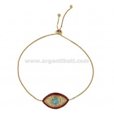 BRACELET WITH EYE IN SILVER ROSE TIT 925 AND COLORED ZIRCONIA