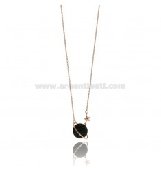 NECKLACE CABLE WITH WORLD AND STAR SILVER ROSE TIT 925 AND ZIRCONIA BLACK 42 CM