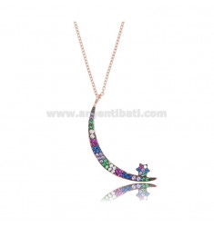 NECKLACE CABLE WITH MOON AND STAR SILVER ROSE TIT 925 AND ZIRCONIA RAINBOW CM 42