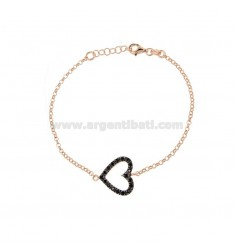 ROLO BRACELET 'WITH CENTRAL HEART IN SILVER ROSE TIT 925 AND BLACK ZIRCONIA CM 17-19