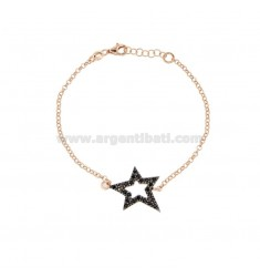 ROLO BRACELET 'WITH CENTRAL STAR ROSE SILVER TIT 925 AND ZIRCONIA BLACK CM 17-19
