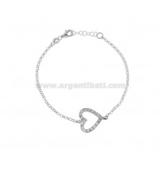 ROLO BRACELET 'WITH CENTRAL HEART IN SILVER RHODIUM TIT 925 AND WHITE ZIRCONIA CM 17-19